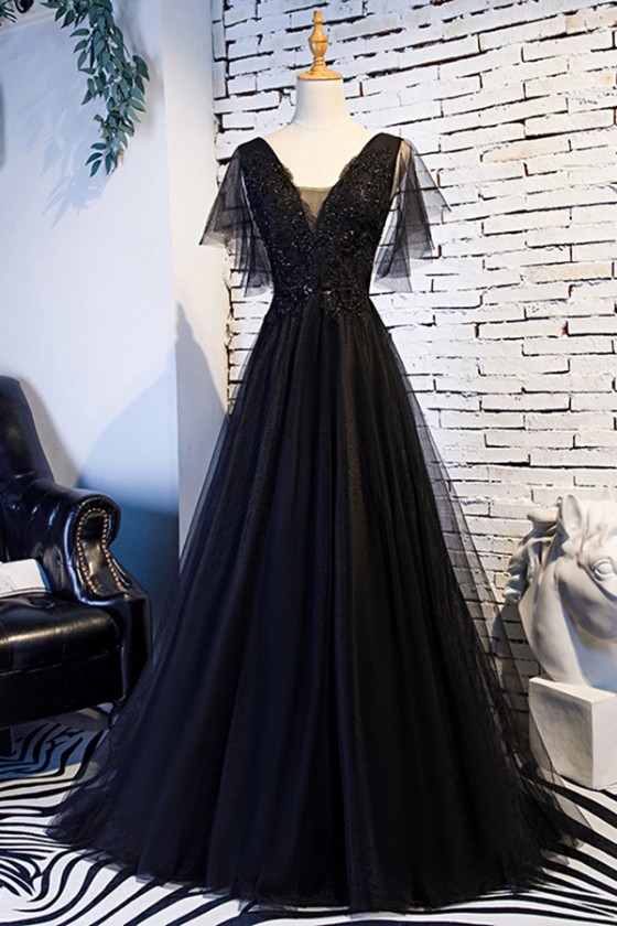 Beaded Lace Long Black Prom Dress With Puffy Sleeves - $123.89 .