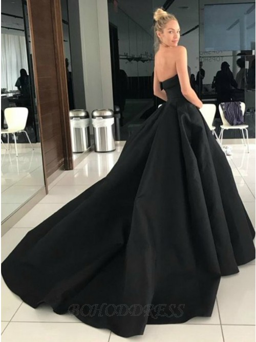 A-Line Sweetheart Backless Court Train Black Prom Dress with .