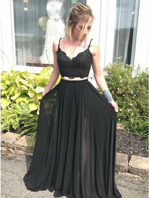 Two Piece Spaghetti Straps Black Prom Dress with Lace - $116.99 .