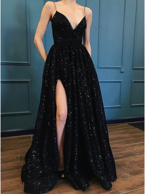 Buy A-Line Spaghetti Straps Black Prom Dress with Sequin Pockets .