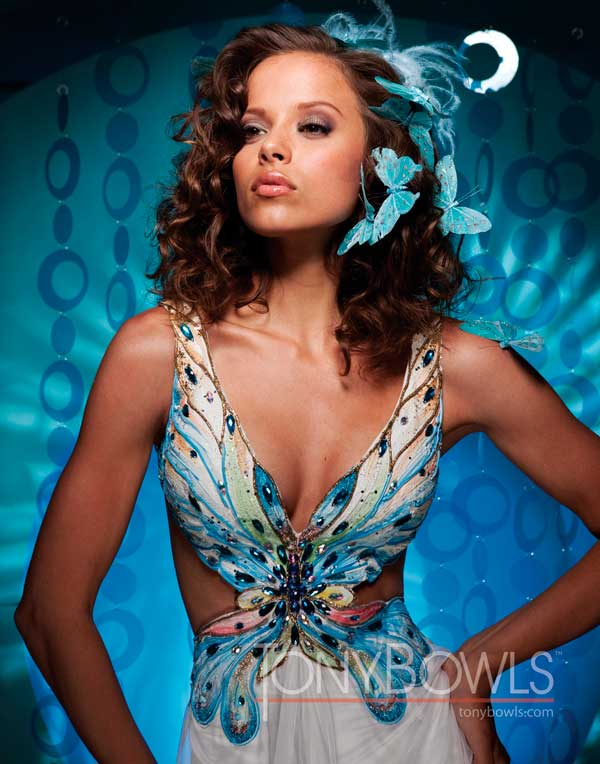 Tony Bowls Prom Dress 111751 blue and white butterfly bodice .