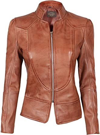 Blingsoul Brown Womens Leather Jacket - Motorcycle Real Lambskin .