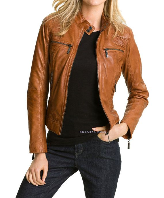 Handmade women brown leather jacket womens leather by Besteshop .