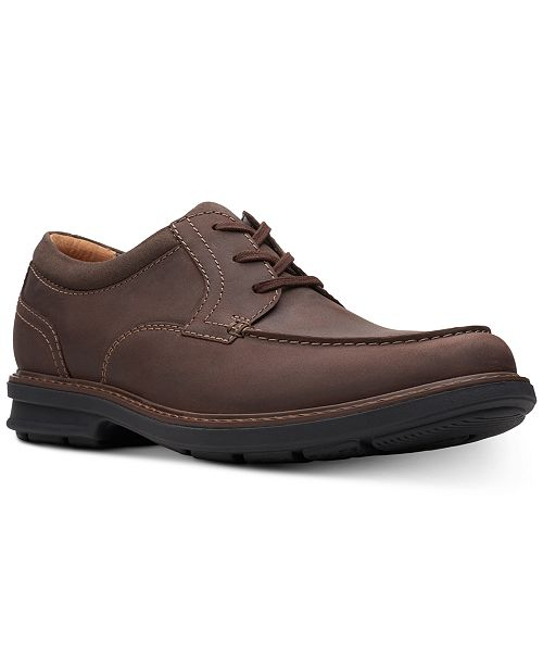 Clarks Men's Rendell Walk Dark Brown Leather Casual Lace-Up Shoes .
