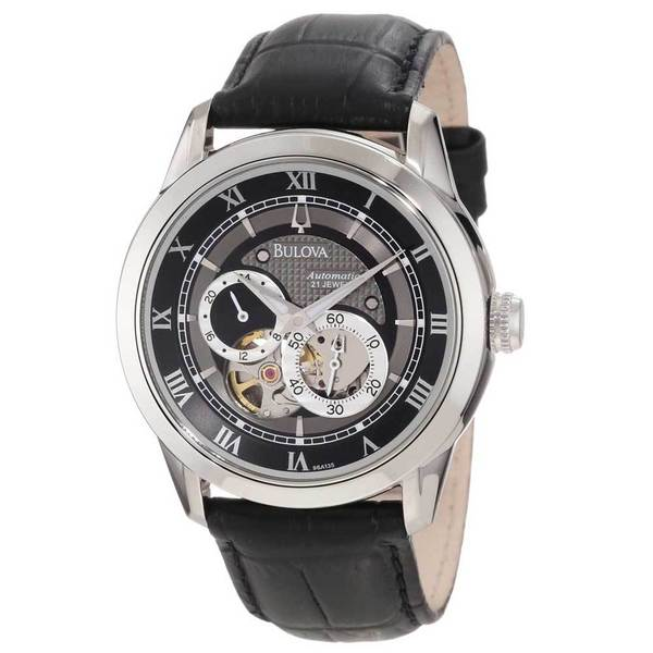 Shop Bulova Men's Mechanical Black Leather Automatic Watch with .