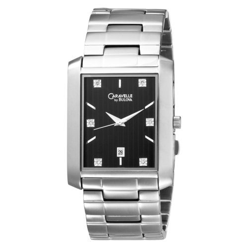 Caravelle by Bulova Men's 43D003 Diamond Accented Black Dial Watch .