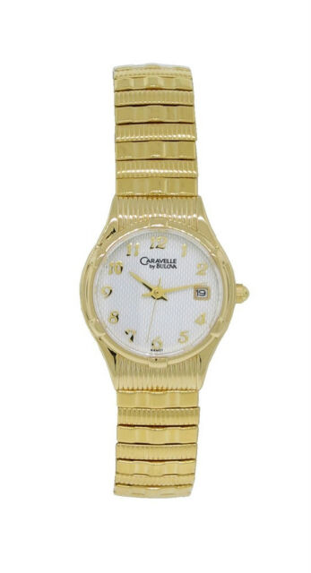 CARAVELLE by Bulova 44M01 Women's Round White Analog Date Stretch .