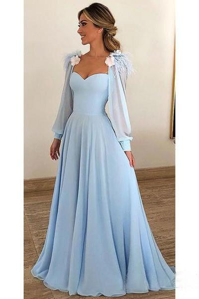 Light Blue A Line Long Chiffon Prom Dresses with Sleeves Modest .