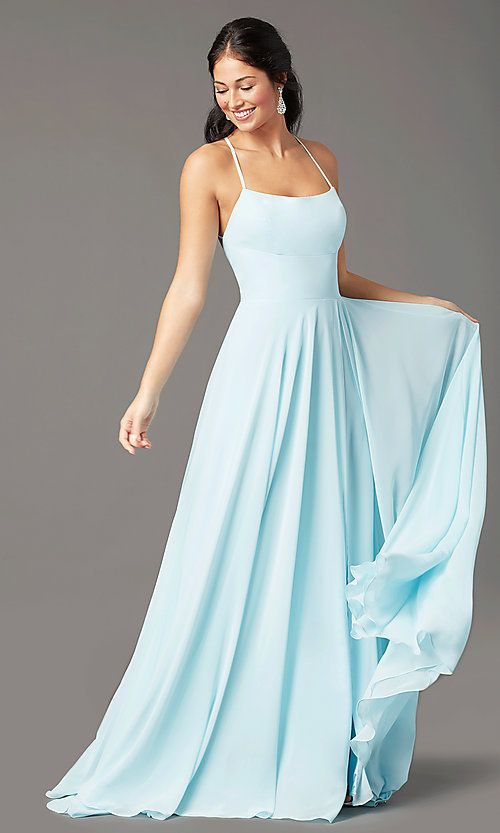 Long Chiffon Square-Neck Prom Dress by PromGirl | Formal dresses .