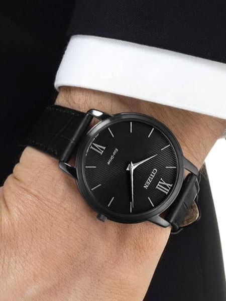 Citizen Ultra-Thin Eco-Drive Stiletto Dress Watch with Black Dial .