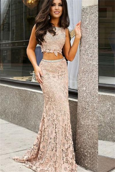 Pink Mermaid Sheath Long 2 Pieces Lace Open Back Classy Prom .
