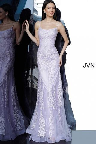 Jovani JVN 02012 Long Fitted Embroidered Lace Corset Tulle Prom .