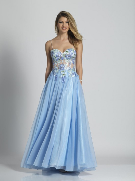 Dave and Johnny A6496 Floral Sheer Corset Prom Dress: French Novel
