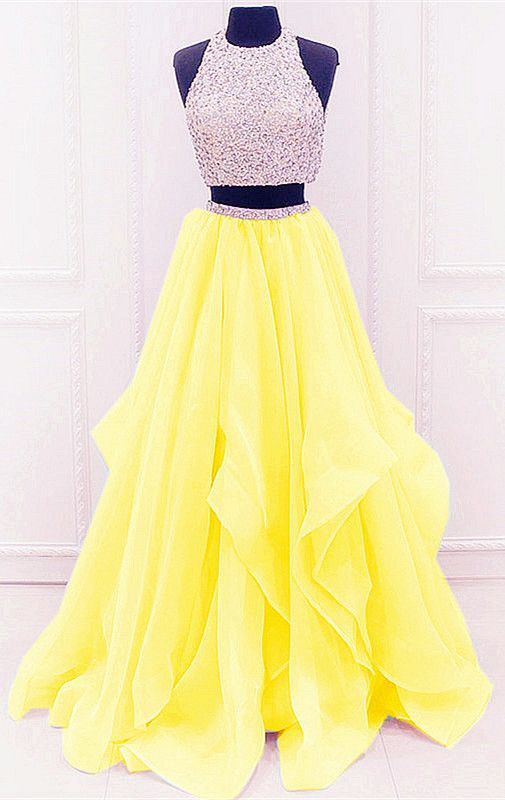 Yellow Prom Dresses,Two Piece Prom Dresses,2 Piece Prom Dresses .