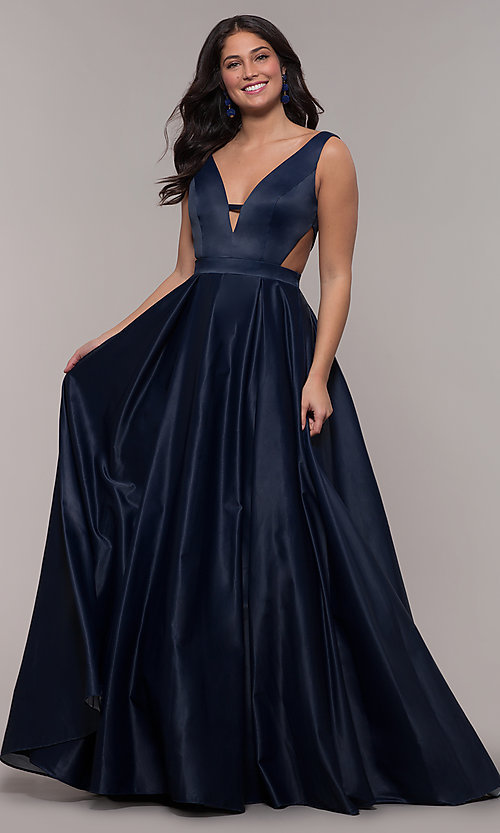 V-Neck Long Designer Prom Dress with Cut Outs-PromGi