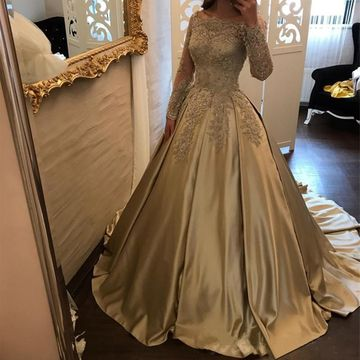 $169.99 Cheap Elegant Ball Gown Long Sleeves Appliques Prom .