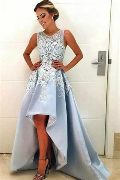 Sky Blue Short Front Long Back Lace Simple Elegant Party Prom .