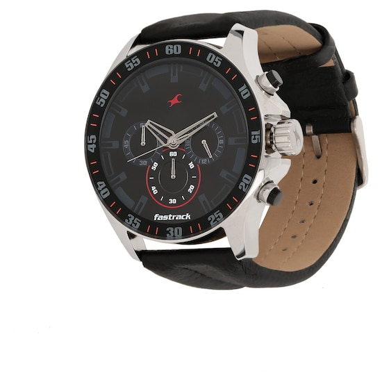 Buy Fastrack Black Round Dial Leather Strap Chronograph Watches .