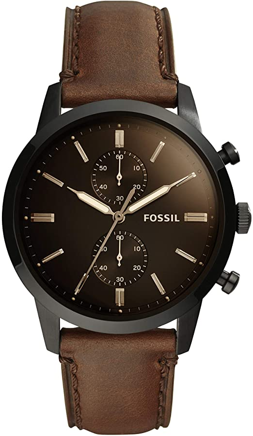 Amazon.com: Townsman 44mm Chronograph Brown Leather Watch: Fossil .