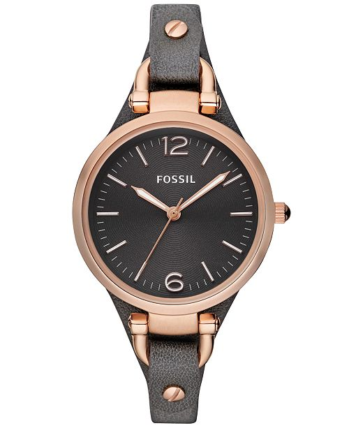 Fossil Women's Georgia Ash Gray Leather Strap Watch 32mm ES3077 .