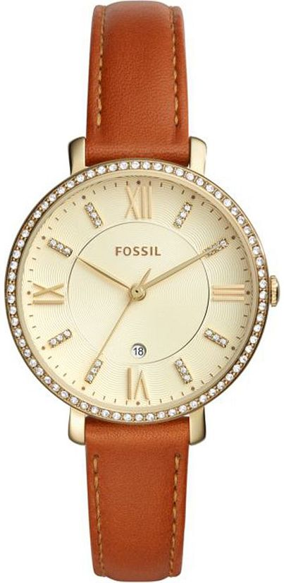 Women's Fossil Jacqueline Crystallzied Brown Leather Watch ES42