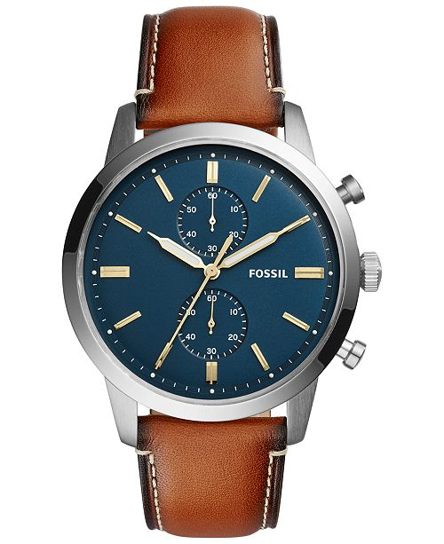 Fossil Men's Chronograph Townsman Light Brown Leather Strap Watch .
