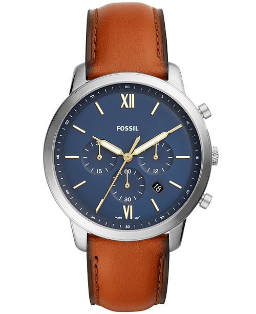 Fossil Men's Neutra Chronograph Brown Leather Strap Watch 44mm .