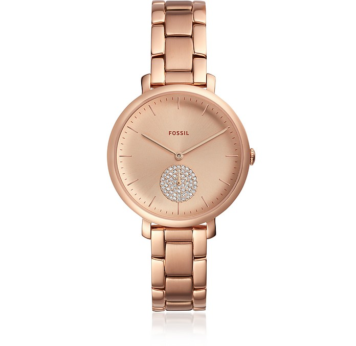 Fossil Jacqueline Three Hand Rose Gold Tone Stainless Steel .