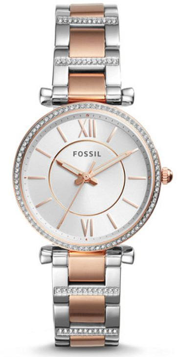 Women's Fossil Carlie Rose Gold Steel Crystallized Watch ES43
