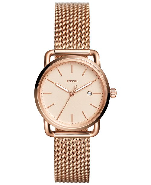 Fossil Women's Commuter Rose-Gold Tone Stainless Steel Mesh .