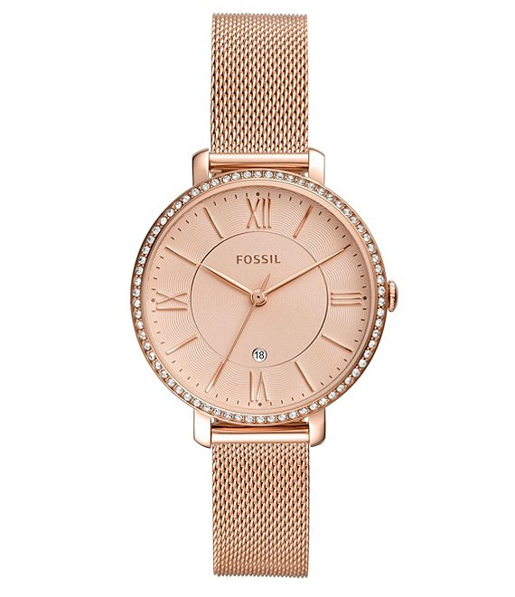 Fossil Jacqueline Three-Hand Rose Gold-Tone Mesh Stainless Steel .