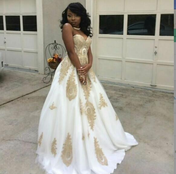 White A line Prom Dresses African Black Girl Appliques Evening .