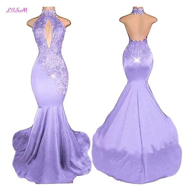 Sexy Halter Mermaid Prom Dresses 2019 Long Lace Appliques Evening .