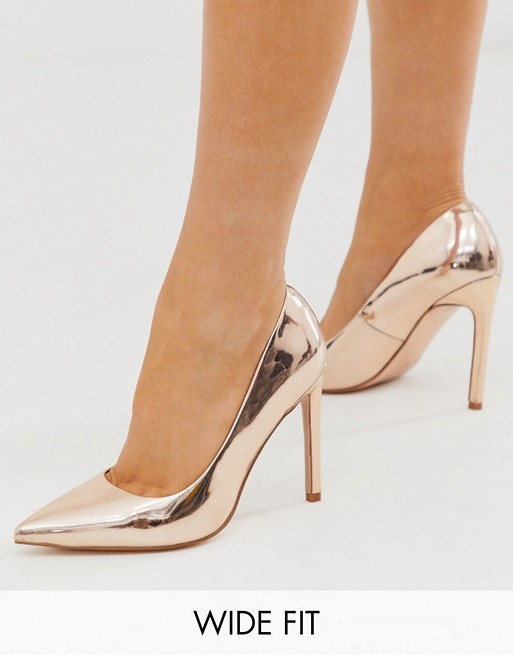 ASOS DESIGN Wide Fit Porto pointed high heeled pumps in rose gold .