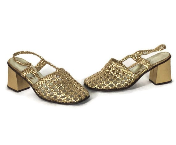 60s Chunky Heel Metallic Gold Shoes 1960s Braided Gold | Et