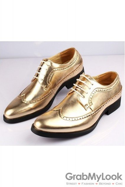 Gold Lace Up Vintage Point Head Oxfords Mens Sho