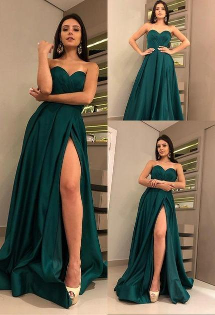 Sweetheart Hunter Green Prom Dresses with High Thigh Slit – NarsBrid