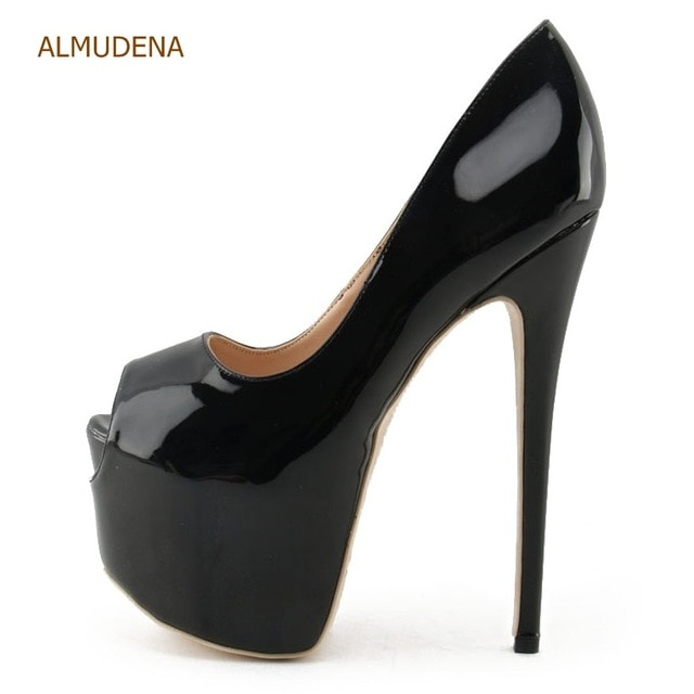 ALMUDENA Fantastic Nude Black Patent Leather Ultra High Heel Shoes .