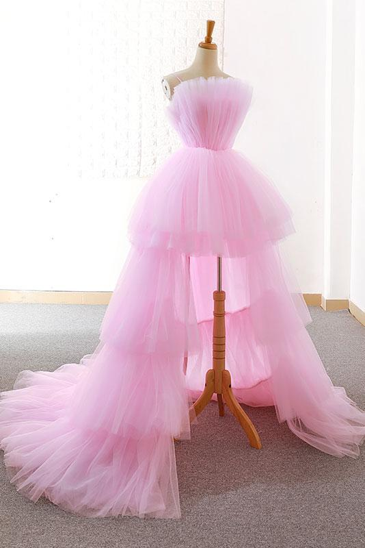 A-line Pink High Low Prom Dress Tulle Cheap Formal Dresses Evening .