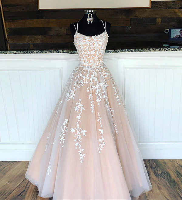 Formal Dress | Champagne tulle lace long prom dress, evening dress .