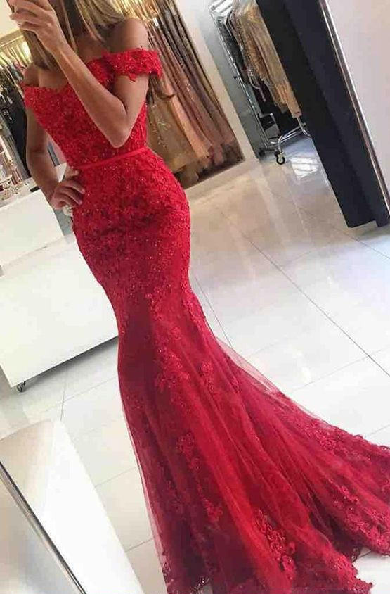 Off the Shoulder Red Mermaid Lace Prom Dress, Red Lace Formal .