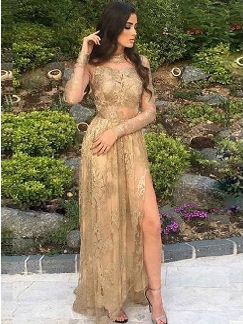 Buy Mermaid Round Neck Gold Lace Prom Dress with Appliques Split .