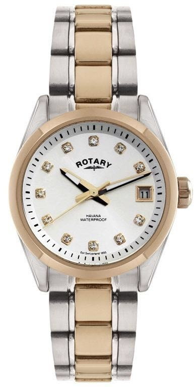 Rotary Watch Ladies Two Tone #bezel-fixed #bracelet-strap-gold-pvd .