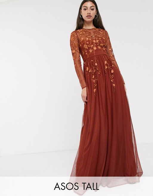 ASOS DESIGN Tall long sleeve maxi dress in embroidered mesh | AS