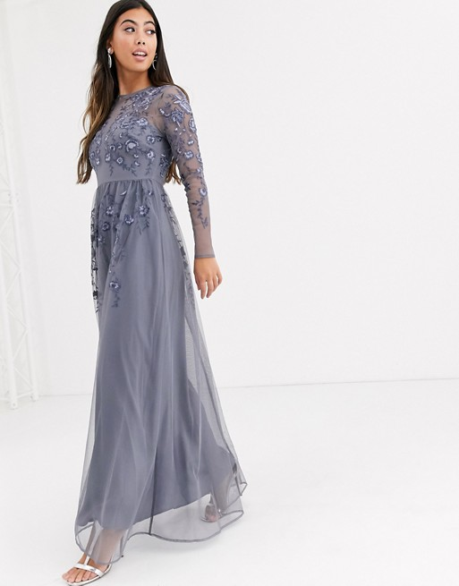 ASOS DESIGN Petite long sleeve maxi dress in embroidered mesh | AS