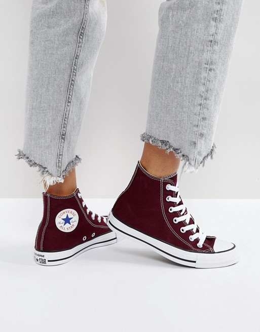 Converse Chuck Taylor All Star Hi Top Sneakers In Burgundy | AS