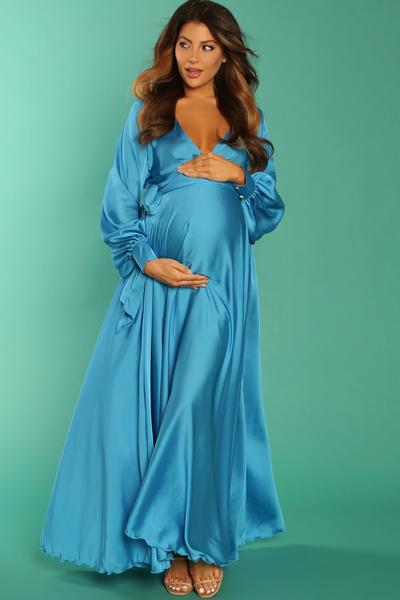 Luxury Blue Satin Maternity Wrap Gown, Baby Shower, Pregnant Guest .