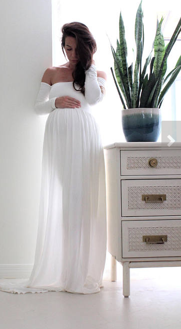 Gorgeous white maternity gown | Maternity gown photo shoot baby .