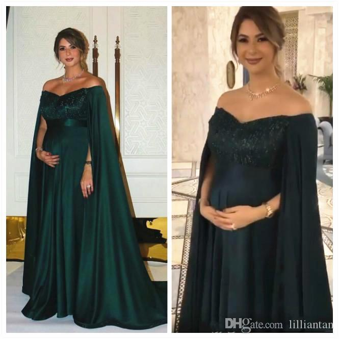 Dark Green Pregnant Maternity Evening Dresses With Cape Off .