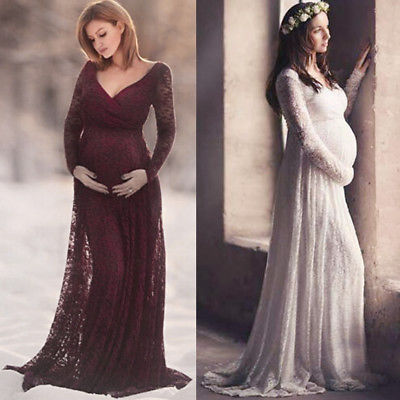 Lace Maternity Maxi Dress Evening Pregnancy Gown for Baby Shower .